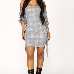 Plaid Off Shoulder Mini Dress